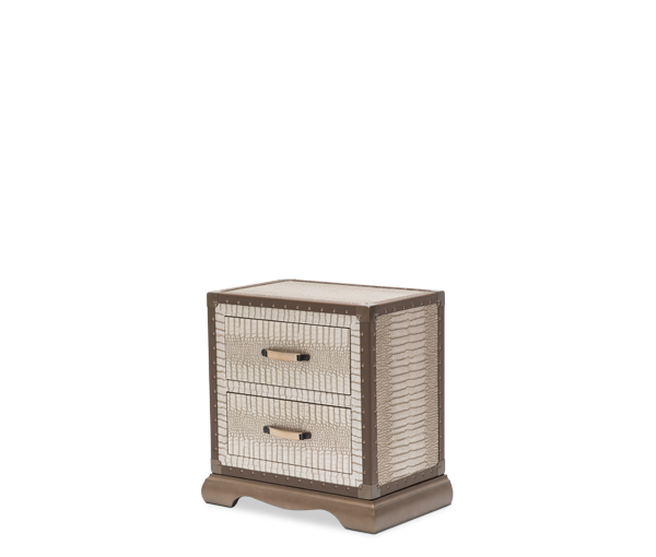 AICO - Michael Amini - Valise Upholstered Nightstand Amazon Tan Gator