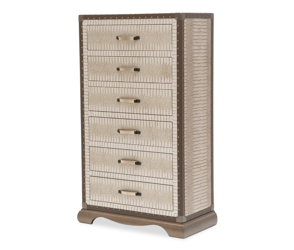 AICO - Michael Amini - Valise Upholstered 6 Drawer Chest Amazon Tan Gator