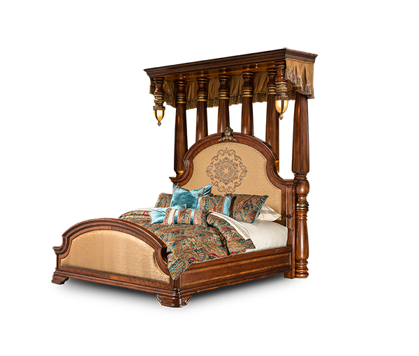 AICO - Michael Amini - Grand Masterpiece Eastern King Half Tester Bed (7 pc)