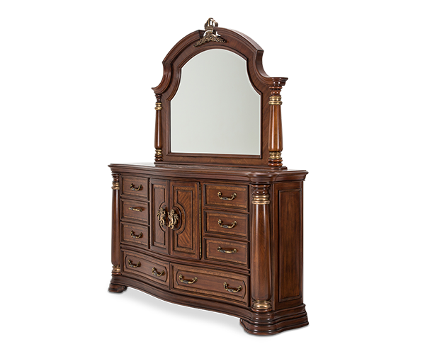 AICO - Michael Amini - Grand Masterpiece Dresser w/Mirror Royal Sienna