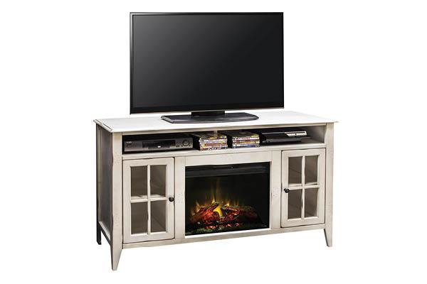 "CA5314 -60"" Rustic White Fireplace Console - Kagan's Home"