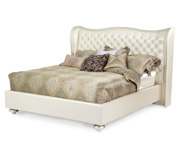 AICO - Michael Amini - Hollywood Swank Creamy Pearl Cal King Upholstered Bed