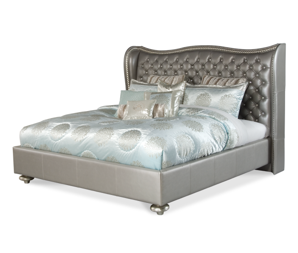 AICO - Michael Amini - Hollywood Swank Metallic Graphite Cal King Upholstered Bed