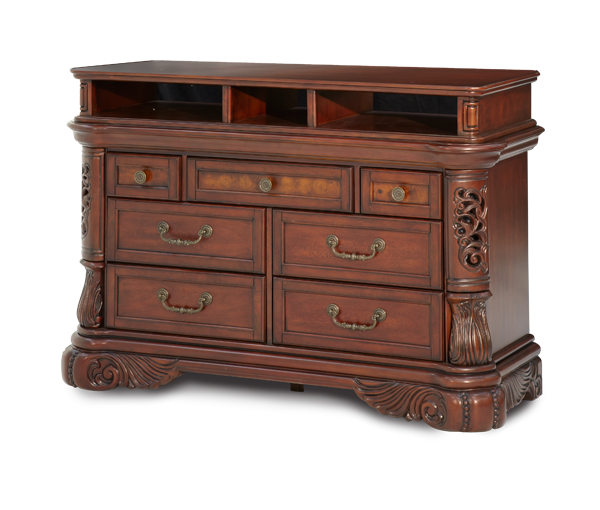 AICO - Michael Amini - Excelsior Media Cabinet 2 pc Base & Component Fruitwood