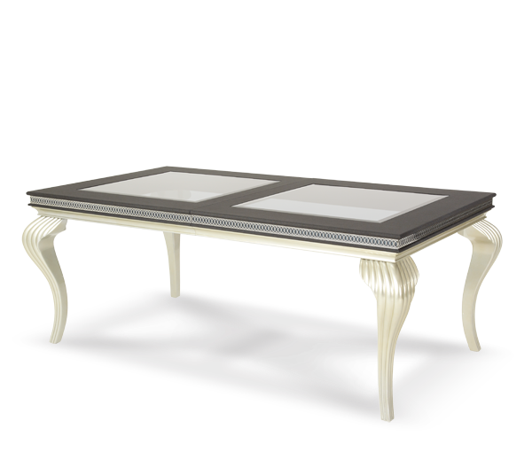 AICO - Michael Amini - Hollywood Swank 4 Leg Rectangular Dining Table - Pearl Caviar (2 pc)