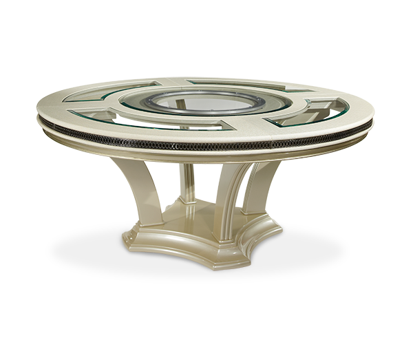 AICO - Michael Amini - Hollywood Swank Round Dining Table - Pearl Caviar (2 pc)