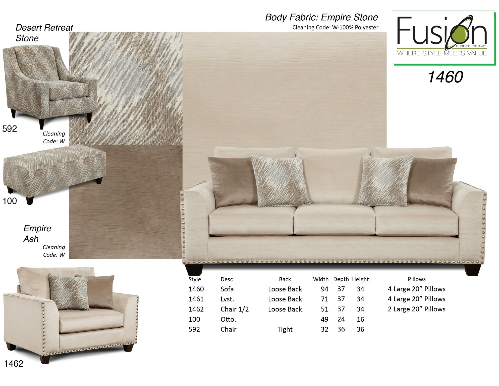Kagan s Home Fusion 1460 Empire Sofa