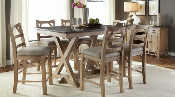 A-America - West Valley Blue Stone Trestle Table