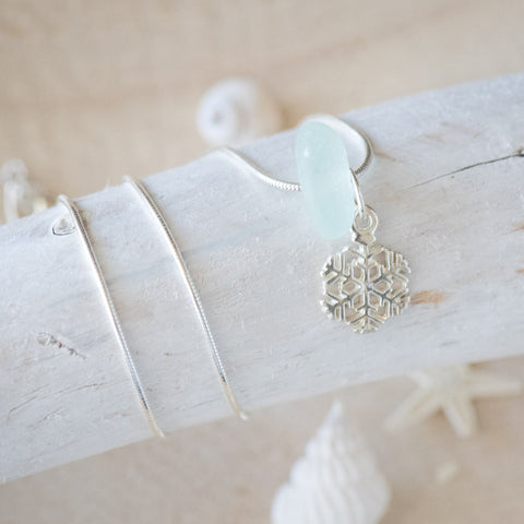 Sea Glass and Snow Flake Necklace
