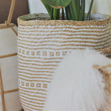 Island Weave White and Natural Basket Set