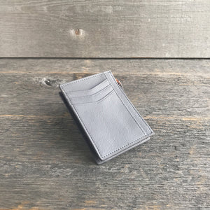 Leather Card Holder for Women Gray