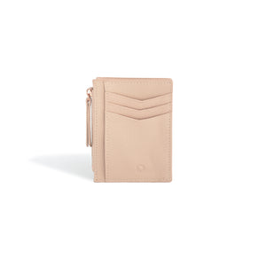 Card Holder Ladies Wallet with Zipper Blush Leather
