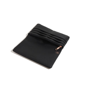 Long Wallet for Women Black Leather