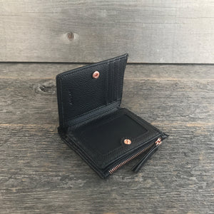 Mini Womens Wallet Black and Rose Gold