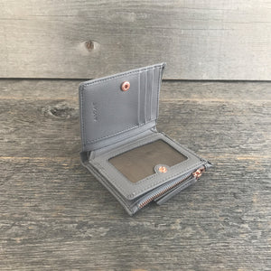 Compact Wallet Gray Leather