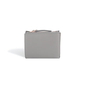 Small Wallets for Women Gray Leather