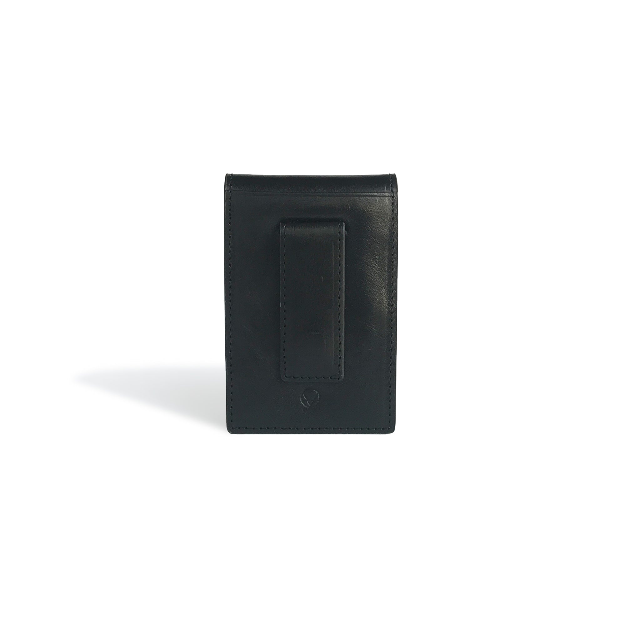 Front Pocket Wallet with Money Clip Black Leather