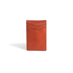Front Pocket Wallet with Money Clip Cognac Leather