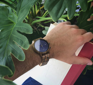 Wooden Watches for Men - The McWay Blue Face Watch on Wrist