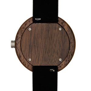 Black Walnut White Wooden Watch - The Cypress Back View