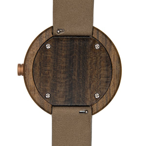 Dark Sandalwood Watch Tan Leather Strap - The Peak Back View