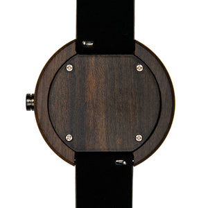 Dark Sandalwood Monochrome Minimalist Wood Watch - The Reine Back View By Wood In Philosophy
