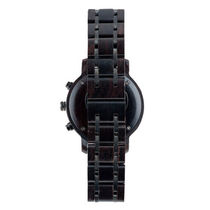 Ebony Wood and Steel Duo Sub-Dial Wooden Watch - The Bowen Back