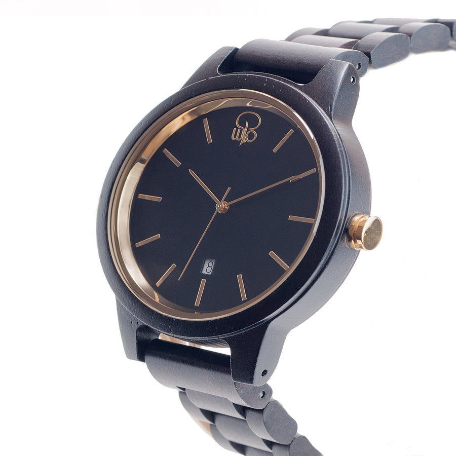 Ebony Wood Watch 18K Gold Plated Minimalist Style Watch Black Swiss Watch - The Havasu Front View
