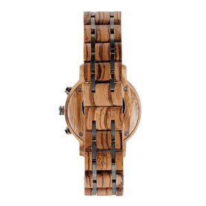 Zebrawood and Steel Wooden Watch Duo Sub-Dial  - The McWay Back View