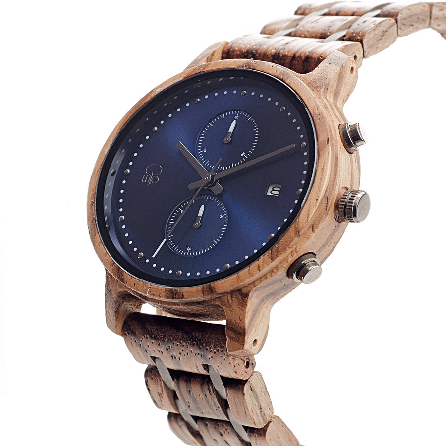 Zebrawood and Steel Minimalist Wooden Watch Marine Chronograph Blue Face Watch - The McWay Front View