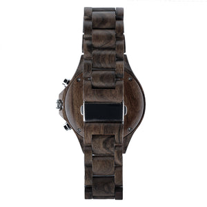 Dark Sandalwood Chronograph Wood Watch - The Narrows Back View