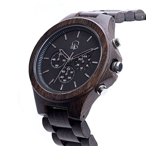 Dark Sandalwood Chrono Wood Watch Charcoal Mens Wooden Watch - The Narrows Side View