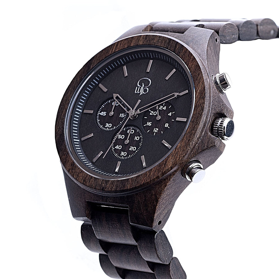 Dark Sandalwood Watch Charcoal Chronograph Wooden Watch Mens - The Narrows Front View