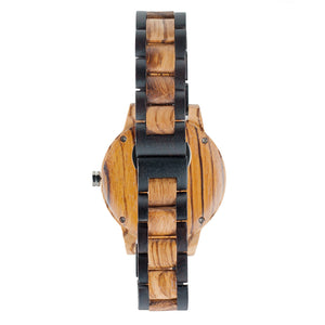 Ebony and Zebrawood Watch 2 Tone - The Niagara Back View
