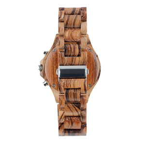 Zebrawood Chronograph Wooden Watch - The Pacific Crest Back View