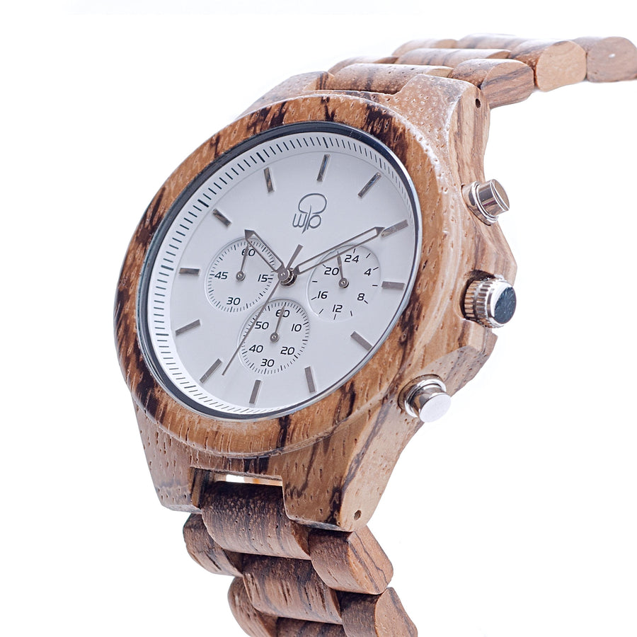 Zebrawood Chrono Wooden Watch - The Pacific Crest Front View