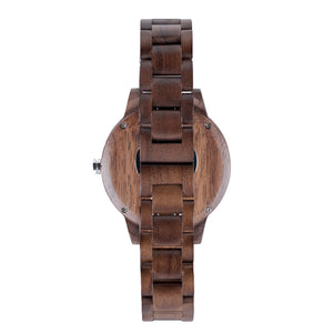 Black Walnut Minimalist Wood Watch - The Seljalandsfoss Back View