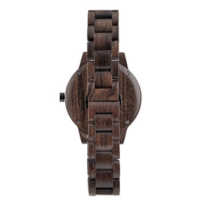 Dark Sandalwood Minimalist Wooden Watch - The Snoqualmie Back View