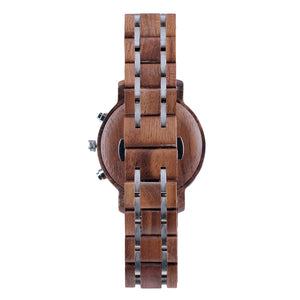 Black Walnutwood and Steel Duo Sub-Dial Chrono Wood Watch - The Tsusiat Back View