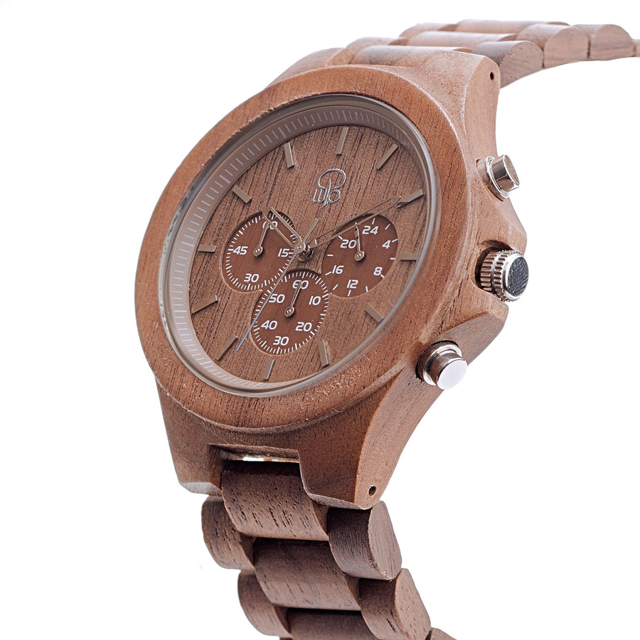 Walnutwood Chrono Wooden Watch - The West Coaster Front View
