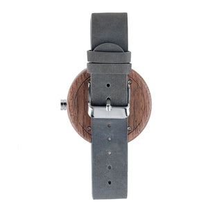 Black Walnutwood Minimalist Wooden Watch Leather Band - The Whitehaven Back View