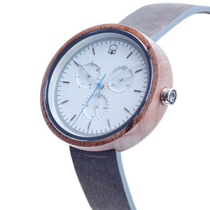 Black Walnutwood Chrono Minimalist Wood Bauhaus Style Watch - The Whitehaven Side View