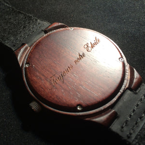 Engraved Wooden Watches For Men - Engraved Watches By Wood In Philosophy Toujours Votre Etoile Script Engraving Always Your Star English Translation