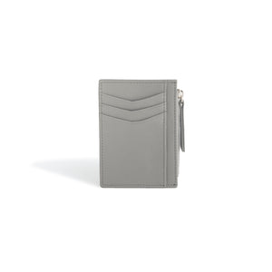 Card Holder Wallet for Women Gray Leather