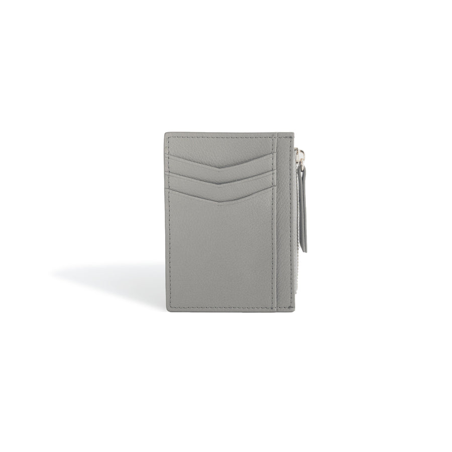 Credit Card Wallet for Women Gray Leather