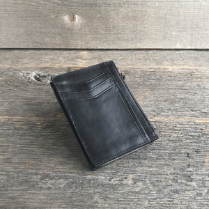 Card Case Wallet Black Leather