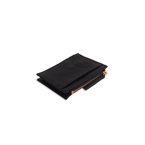 Card Holder Wallet with Zipper Black and Rose Gold