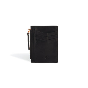 Leather Card Holder Wallet for Women Black and Rose Gold