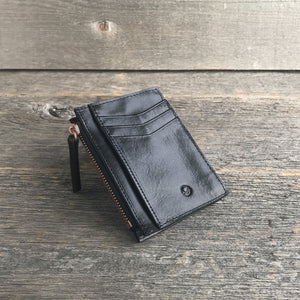 Leather Card Holder Black and Rose Gold