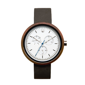 Black Walnutwood Minimalist Bauhaus Style Watch Wood Multifunction Watch Leather Band - The Whitehaven Front View